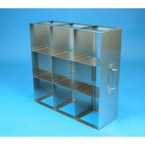 Rack orizzontale acciaio griglia 3x3 (orizz / vert) 9 box per provette tipo Falcon &#45Dim. 414x409x139