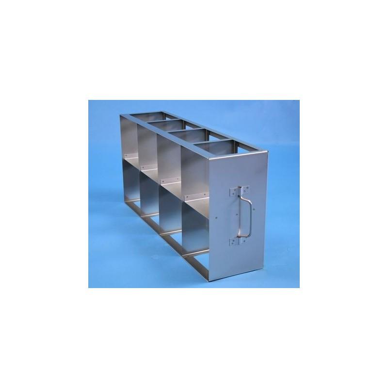 Rack orizzontale acciaio griglia 4x2 (orizz / vert) 8 box per provette tipo Falcon &#45Dim. 549x279x139