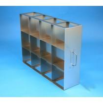 Rack orizzontale acciaio griglia 4x3 (orizz / vert) 12 box per provette tipo Falcon &#45Dim. 549x409x139