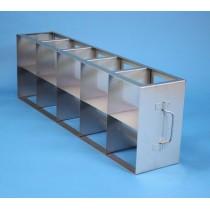 Rack orizzontale acciaio griglia 5x2 (orizz / vert) 10 box per provette tipo Falcon &#45Dim. 685x279x139