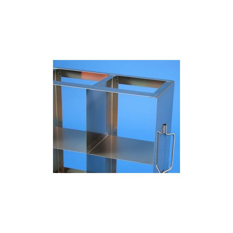 Rack orizzontale acciaio griglia 5x3 (orizz / vert) 15 box per provette tipo Falcon &#45Dim. 685x409x139
