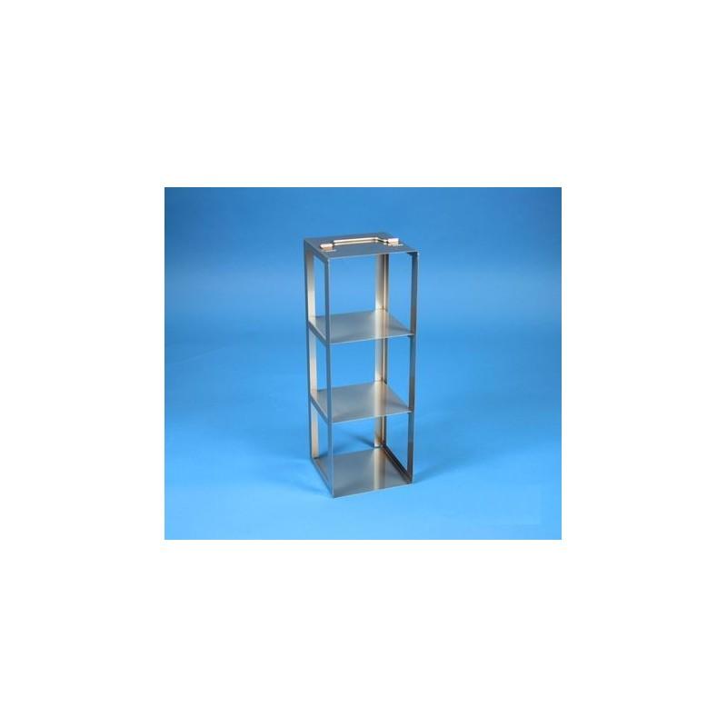 Rack a colonna acciaio &#45 3 posti box per provette tipo Falcon &#45Dim. 138x138x411mm