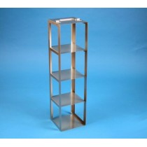 Rack a colonna acciaio &#45 4 posti box per provette tipo Falcon &#45Dim. 138x138x546mm