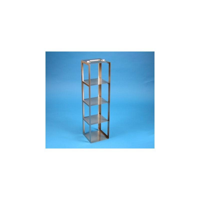 Rack a colonna acciaio &#45 4 posti box per provette tipo Falcon &#45Dim. 138x138x546mm