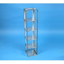 Rack a colonna acciaio &#45 5 posti box per provette tipo Falcon &#45Dim. 138x138x681mm
