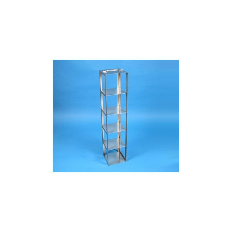 Rack a colonna acciaio &#45 5 posti box per provette tipo Falcon &#45Dim. 138x138x681mm