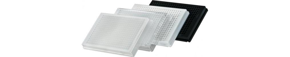 Piastre 384 pozzetti trasparenti, bianche o nere